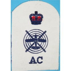 Aircraft Controller Plane & Helicopter + Crown + AC Trade: Blue On White with Queen Elizabeth's Crown. Embroidered Naval Branch,