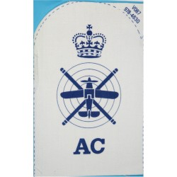 Aircraft Controller Plane & Helicopter + Crown + AC Trade: Blue On White with Queen Elizabeth's Crown. Printed Naval Branch, ran