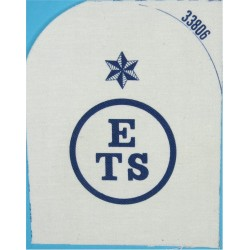 Education & Training Support (ETS In Circle) + Star Trade: Blue On White  Printed Naval Branch, rank or miscellaneous insignia