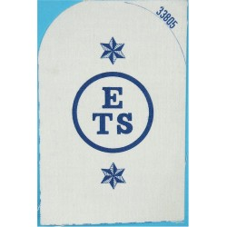 Education & Training Support (ETS In Circle)+2 Stars Trade: Blue On White  Printed Naval Branch, rank or miscellaneous insignia