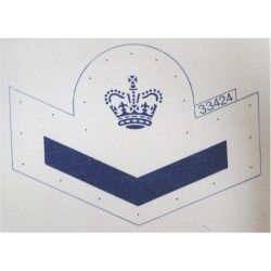 Petty Officer Junior / Boy Sailor (Crown / Chevron) Blue On White with Queen Elizabeth's Crown. Printed Naval Branch, rank or mi