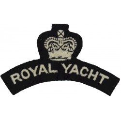 Royal Yacht Shoulder Title White On Navy Blue with Queen Elizabeth's Crown. Embroidered Naval Branch, rank or miscellaneous insi
