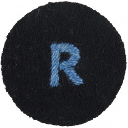 R (WRNS Reserve) Blue On Navy Blue Circle   Embroidered Naval Branch, rank or miscellaneous insignia