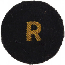 R (Royal Naval Reserve)    Gold On Navy Blue Circle   Bullion wire-embroidered Naval Branch, rank or miscellaneous insignia