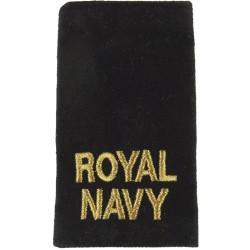 Royal / Navy - Gold On Black Slip-On Epaulette  Lurex Naval Branch, rank or miscellaneous insignia