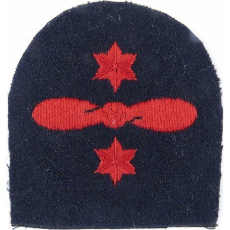 Motor Mechanic (2-Bladed Propeller)+ 2 Stars 1923-48 Trade - Red On Navy  Embroidered Naval Branch, rank or miscellaneous insign