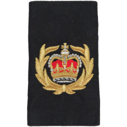 Royal Navy Warrant Officer Class 2 Rank Slide Colour On Black with Queen Elizabeth's Crown. Lurex Naval Branch, rank or miscella