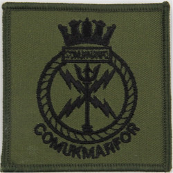 Commander UK Maritime Forces Black On Olive Green  Embroidered Naval Branch, rank or miscellaneous insignia
