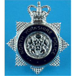 North Yorkshire Police - Senior Officers Cap Badge with Queen Elizabeth's Crown. Chrome and enamelled Police or Prisons hat badg