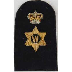 Writer (W In 6-Pointed Star) + Crown Trade - Gold On Navy with Queen Elizabeth's Crown. Bullion wire-embroidered Naval Branch, r