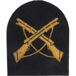 Crossed Rifles On Tombstone Shape (Marksman) Gold On Navy Blue  Bullion wire-embroidered Naval Branch, rank or miscellaneous ins