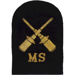 Seaman Gunner RNR Mine Sweeping (Crossed Guns + MS) Trade - Gold On Navy  Bullion wire-embroidered Naval Branch, rank or miscell