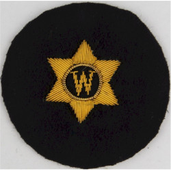 Writer - W In 6-Pointed Star Trade - Gold On Navy with Queen Elizabeth's Crown. Bullion wire-embroidered Naval Branch, rank or m