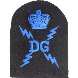 WRNR Degaussing (DG In 4 Lightning Flashes) + Crown Trade: Blue On Navy with Queen Elizabeth's Crown. Embroidered Naval Branch,
