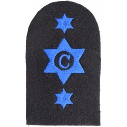 WRNS Cook (C In 6-Pointed Star) + 2 Stars Trade: Blue On Navy  Embroidered Naval Branch, rank or miscellaneous insignia