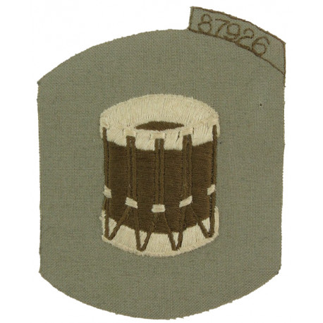 Royal Marines Bugler (Drum) - Brown On Stone Trade Badge  Embroidered Marines or Commando insignia
