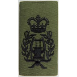 Royal Marines WO2 Band Master Rank Slide Black On Olive Green with Queen Elizabeth's Crown. Embroidered Marines or Commando insi
