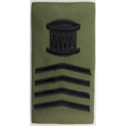 Royal Marines Drum Major's Rank Slide Black On Olive Green  Embroidered Marines or Commando insignia