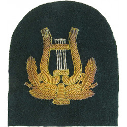 Royal Marines Band - Lyre (without Crown) Trade: Gold On Lovat  Bullion wire-embroidered Marines or Commando insignia