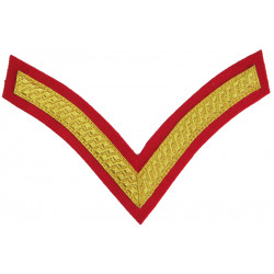 Lance Corporal's Rank Chevron On Red - Royal Marines For Blues Uniform  Bullion wire-embroidered Marines or Commando insignia