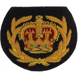 WO2 (Crown In Wreath) - Royal Marines Pattern Gold On Navy Blue with Queen Elizabeth's Crown. Bullion wire-embroidered Marines o