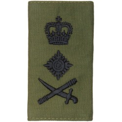 Royal Marines General - Sword Pointing Left Rank Slide with Queen Elizabeth's Crown. Embroidered Marines or Commando insignia