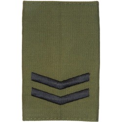 Corporal - Royal Marines Pattern Black On Olive Green  Embroidered Marines or Commando insignia