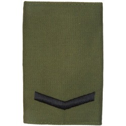 Lance Corporal - Royal Marines Pattern Black On Olive Green  Embroidered Marines or Commando insignia