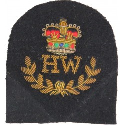 Royal Marines HW In Wreath + Crown: Heavy Weapons Trade: Gold On Navy with Queen Elizabeth's Crown. Bullion wire-embroidered Mar