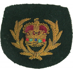 WO2 (Crown In Wreath) - Royal Marines Pattern Gold On Lovat Green with Queen Elizabeth's Crown. Bullion wire-embroidered Marines