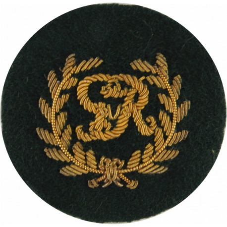 Royal Marines King's Badge - GvR In Wreath Gold On Lovat Green  Bullion wire-embroidered Marines or Commando insignia