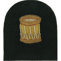 Royal Marines Bugler (Drum) Trade: Gold On Lovat  Bullion wire-embroidered Marines or Commando insignia