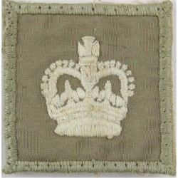 Colour Sergeant's Rank Crown - Royal Marines On Stone Square with Queen Elizabeth's Crown. Embroidered Marines or Commando insig