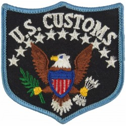 United States Customs Shield-Shape Patch  Embroidered Coast Guard, Customs & Excise insignia