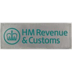 HM Revenue & Customs Reflective Jacket Badge 140mm X 51mm Velcro with Queen Elizabeth's Crown. Printed Coast Guard, Customs & Ex