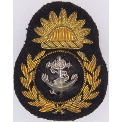 P&O (Peninsular & Oriental) Chief Petty Officers Cap Badge - Pre-1972  Bullion wire-embroidered Merchant Navy or Shipping insign