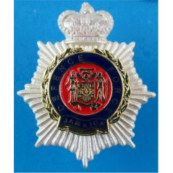 Jamaica Defence Force Silver Crown & Star with Queen Elizabeth's Crown. Silver-plated, gilt and enamel Officers' collar badge