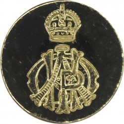 11th Hussars (Prince Albert's Own) (Indented Design) 14mm - Gold Colour with King's Crown. Anodised Staybrite military uniform b
