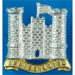 5th Royal Inniskilling Dragoon Guards Flag Flying To Right  Silver-plate and gilt Officers' collar badge