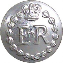 Royal Military Police - Officers' 15.5mm Silver Colour with Queen Elizabeth's Crown. Anodised Staybrite military uniform button
