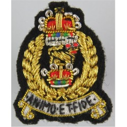 Adjutant General's Corps FR - 34mm High with Queen Elizabeth's Crown. Bullion wire-embroidered Officers' collar badge
