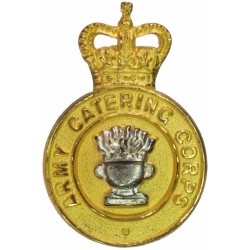 Army Catering Corps - 'We Sustain' Scroll 1952-1973 with Queen Elizabeth's Crown. Silver-plate and gilt Officers' collar badge