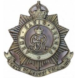 North Somerset Yeomanry (Voided - With Scroll Below) GvR - 1911-1936 with King's Crown. Silver-plated Officers' collar badge