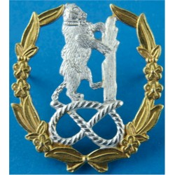 Staffordshire Warwickshire & Worcestershire Yeomanry FR Bear Knot Wreath  Silver-plate and gilt Officers' collar badge