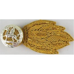 The Royal Welsh - Horizontal For No.1 Dress FL - Dragon Grenade  Bullion wire-embroidered Officers' collar badge