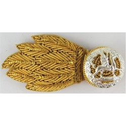The Royal Welsh - Horizontal For No.1 Dress FR - Dragon Grenade  Bullion wire-embroidered Officers' collar badge