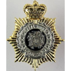 Jamaica Defence Force Gilt Crown & Star with Queen Elizabeth's Crown. Silver-plated, gilt and enamel Other Ranks' collar badge