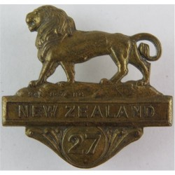 New Zealand Expeditionary Force: 27th Reinforcements Lion FL - WW1 NZEF  Brass Other Ranks' collar badge