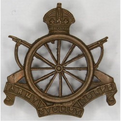 Army Cyclist Corps - 12-Spoke Pattern 1908-1920 with King's Crown. Brass Other Ranks' collar badge