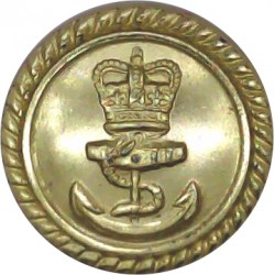 Royal Navy - Officers (Roped Rim) 19.5mm - Gold Colour with Queen Elizabeth's Crown. Anodised Staybrite military uniform button